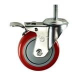 "4"" Stainless Steel Threaded Stem Swivel Caster with Red Polyurethane Tread Wheel and Total Lock Brake"