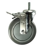 "5"" Stainless Steel Swivel Caster with Polyurethane Tread and Total Lock Brake"