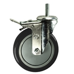 "5"" Stainless Steel Threaded Stem Swivel Caster with Black Polyurethane Tread Wheel and Total Lock Brake"