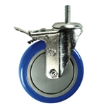 "5"" Stainless Steel Threaded Stem Swivel Caster with Blue Polyurethane Tread Wheel and Total Lock Brake"