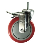 "5"" Stainless Steel Threaded Stem Swivel Caster with Red Polyurethane Tread Wheel and Total Lock Brake"