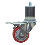 "3"" Expanding Stem Stainless Steel  Swivel Caster with Red Polyurethane Tread and Total Lock"