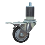 "3"" Expanding Stem Stainless Steel  Swivel Caster with Black Polyurethane Tread and Total Lock"
