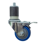 "3"" Expanding Stem Stainless Steel  Swivel Caster with Blue Polyurethane Tread and Total Lock"