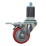 "3-1/2"" Expanding Stem Stainless Steel Swivel Caster with Red Polyurethane Tread and Total lock brake"