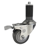 "3-1/2"" Expanding Stem Stainless Steel Swivel Caster with Polyurethane Tread and Total lock brake"