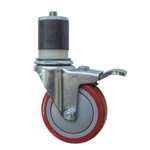 "4"" Expanding Stem Stainless Steel Swivel Caster with Red Polyurethane Tread and total lock brake"