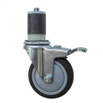 "4"" Expanding Stem Stainless Steel Swivel Caster with Black Polyurethane Tread and total lock brake"