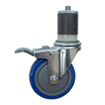 "4"" Expanding Stem Stainless Steel Swivel Caster with Blue Polyurethane Tread and total lock brake"
