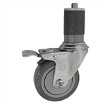 "4"" Expanding Stem Stainless Steel Swivel Caster with Polyurethane Tread and total lock brake"