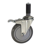 "5"" Expanding Stem Stainless Steel Swivel Caster with Polyurethane Tread and total lock brake"