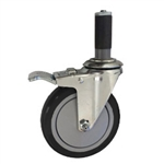 "5"" Expanding Stem Stainless Steel Swivel Caster with Black Polyurethane Tread and total lock brake"