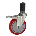 "5"" Expanding Stem Stainless Steel Swivel Caster with Red Polyurethane Tread and total lock brake"