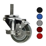 Metric stem caster with 3 inch polyurethane wheel and top lock brake