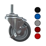 Metric stem caster with 4 inch polyurethane wheel and top lock brake