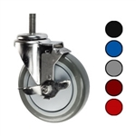 Metric stem caster with 5 inch polyurethane wheel and top lock brake