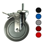 "5"" Metric Swivel Caster with Polyurethane Tread and Total Lock Brake"