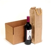 1 Bottle Natural Laminated Jute Wine Bag With Cane Handle