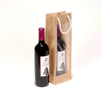1 Bottle Natural Laminated Jute Wine Bag With Cotton Cord Handle