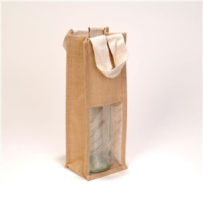 1 Bottle Natural Laminated Jute Wine Bag With White Flat Cotton Web Handle