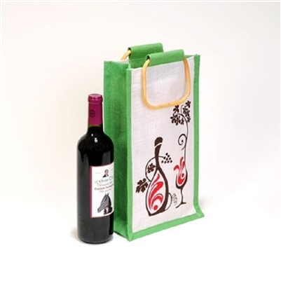 2 Bottle White/Green Laminated Jute Wine Bag