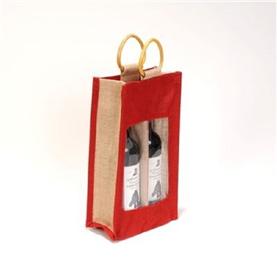 2 Bottle Red Laminated Jute Wine Bag