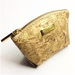 Cork Small Coin Purse Gold embossed pattern