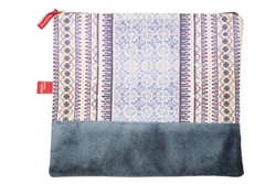 "Purse ""A Tale of Tiles"" Mourisca Twill and Blue Velvet"