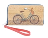 Cork wallet featuring a bicycle