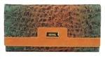 Orange Trim Cork Wallet with green