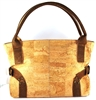 Classic Cork Handbag in Natural Cork Color and details in Dark Brown with 2 side buckles