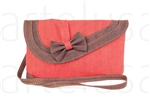 Cork Pochette - orange with brown chocolate lace