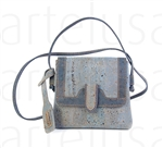 Light blue shoulder strap cork pochette - dark blue