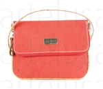 Cork Fold Over Orange Pochette + shoulder strap