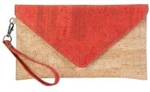 Envelope cork clutch Coral/Natural