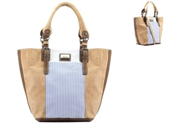 Blue Stripes Large Cork Bag