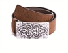 Ladies Cork Belt with Fantasy Buckle Brown