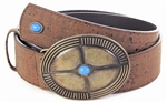 Brown Cork Belt with Oval Buckle blue stone