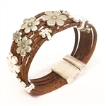 Cork Bracelet with lot of daisies 6 strands