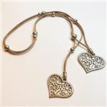 long cork necklace with 2 hearts