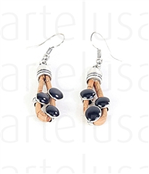 Beige Earrings with Black Metal Beads