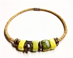 Cork Necklace Lemon Lime ceramic beads with owl