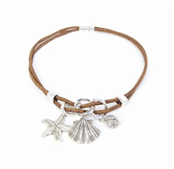 Sea Star and Shells Crown Cork Necklace