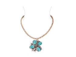 Blue Flower Cork Silver Necklace