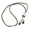 Brown Cork Necklace w/white ceramic bead