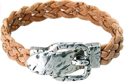 Cork plaited Bracelet with belt buckle natural