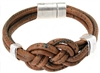Brown Cork Knot Bracelet with two metalic rings
