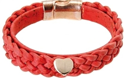 Red Plaited Cork Bracelet with Heart