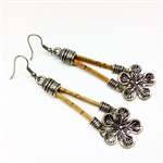 Cork  Earrings Long Long Flower