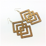 Cork Earrings Geometric Natural